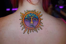 collection of 25 small sun and moon tattoos on back neck