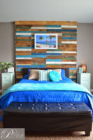 remodelaholic colorful and rustic plank headboard wall build a plank headboard wall pearls pinstripes and peanut butter featured on remodelaholic com