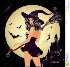 happy halloween witch and moon stock vector image 45182014