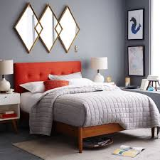 Bed Frame Types Unique Framed Mirror And Orange Headboard For Amazing Mid Century