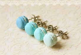 food earrings food jewelry blue macarons earrings lagoon blue series