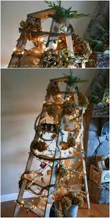 ladder christmas tree 40 wooden ladder repurposing ideas that add farmhouse charm to
