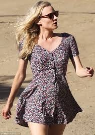 diane kruger wears short floral print summer dress to hike with