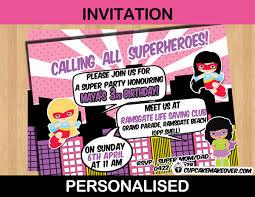 comic superhero girls birthday party invitation card