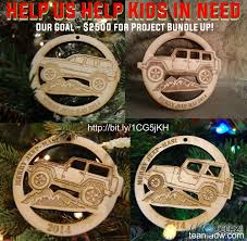jeep themed ornaments for charity
