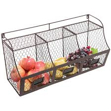 Wire Baskets For Kitchen Cabinets Amazon Com Large Rustic Brown Metal Wire Wall Mounted Hanging