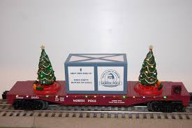 mth 30 76682 north pole flat car w lighted christmas trees