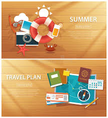 summer holiday planner template summer and travel flat banner background template stock vector