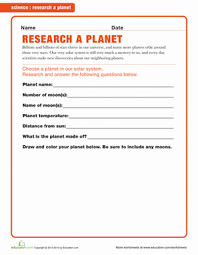 planet research worksheet education com