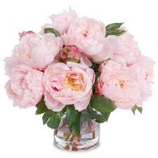 faux peonies faux peony bouquet in cylinder vase pink polyvore