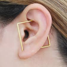 earring on ear square ear cuff gold ear cuff square hoop earring geometric