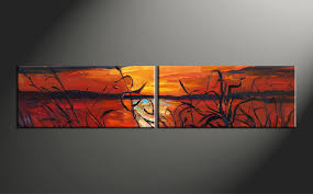 Home Decor Wall Art 2 Piece Red Canvas Ocean Sunset Oil Paintings Huge Pictures