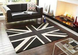 union jack rug black grey white