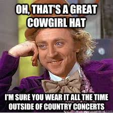 Cowgirl Memes - i ride own a horse and usually just wear a baseball hat to keep my