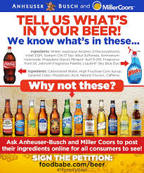 sodium in light beer anheuser busch and miller coors tell us what s in your beer