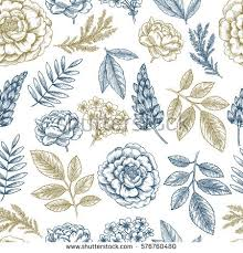 vector pattern vintage style botanical collectiongardening stock