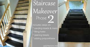 staircase makeover filling holes and staining treads jenna burger