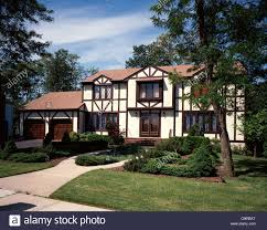 tudor house style 1980s tudor style two story suburban house stock photo royalty