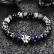 natural stone beaded bracelet images Gold silver tiger head beaded bracelet women men 39 s natural stone jpg
