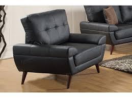 2pcs black bonded leather sofa set