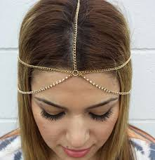 chain headband new rhinestone chain layer gold chains