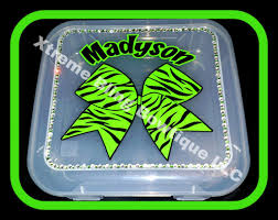 bow boxes cheer bow box personalized zebra with rhinestones cheer bows