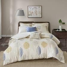 madison park lina blue printed cotton flannel 7 piece duvet cover set