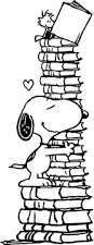 love books snoopy coloring wecoloringpage