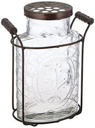 Large Metal Vase Amazon Com Creative Co Op Glass Vase With Metal Flower Lid Large