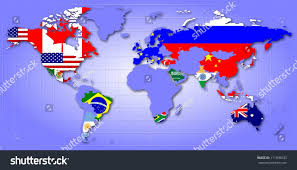 Map Of Globe Map World Showing G20 Member Countries Stock Illustration