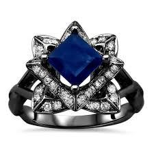 black gold sapphire engagement rings noori 1 1 5ct tgw blue princess cut sapphire lotus flower