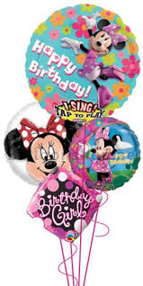singing birthday delivery disney minnie mouse singing birthday balloon bouquet delivery in