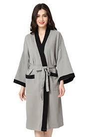 robe de chambre pour spa aibrou femme homme kimono tissage gaufré peignoir de bain unisexe