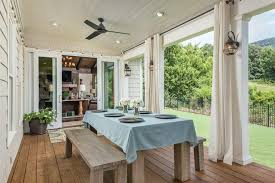 italian string curtains deck farmhouse with rustic traditional