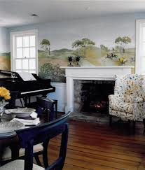 Living Room Setting by English Hunt Scene Wallpapers Living Room Traditional With Trim