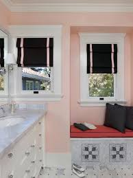 pink wall paitn white window frame with black screen pink futon