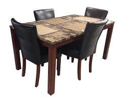 faux marble top dining table set coaster 7 pc newbridge