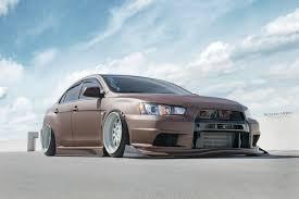 stanced mitsubishi lancer auto mitsubishi car mitsubishi lancer evo x chocolate brown
