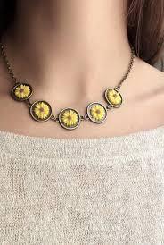 sunflower wedding favors sunflower necklace yellow flower collar sunflower jewelry bronze