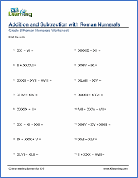 grade 3 roman numerals worksheets free u0026 printable k5 learning