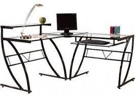 L Shaped Glass Desks Florence L Shaped Glass Desk Black And Clear Ebay