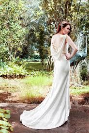 unique cowl neckline sleeveless backless summer satin wedding