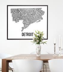 Portland Neighborhood Map Poster by Detroit Neighborhood Map Poster Or Print Original Artist Of