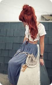 long hair equals hippie love red copper hair maxi skirt crop top hippie vibe hair