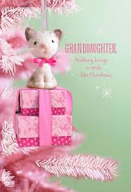 pink cat ornament card for granddaughter greeting