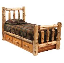 Bedroom Sets With Drawers Under Bed Log Bed With Drawers Rustic Furniture Pinterest Log Bed