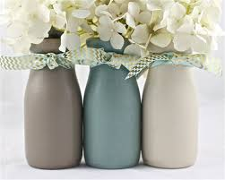 Milk Vases For Centerpieces by Boy Baby Shower Centerpiece Decorations Painted Blue Brown Glass