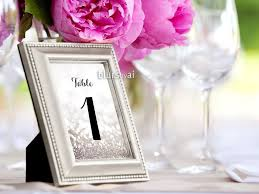 wedding table number fonts 4x6 table numbers in silver glitter and black calligraphy font