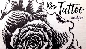 how to draw a rose tattoo with a brushpen inking tutorial youtube