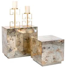cube mirror side table fedro hollywood regency silver antique mirror cube side table